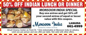 50% off Indian lunch or dinner