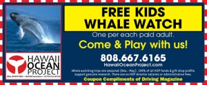 Kids go free on Hawaii Ocean Project's Whale Watch trips