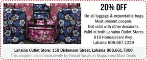 Lahaina Outlet Store Maui Coupon