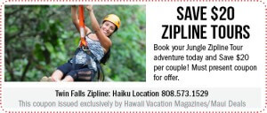 Twin Falls Zipline + Maui Coupon